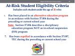 at risk student eligibility criteria includes each student under the age of 26 who5