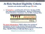 at risk student eligibility criteria includes each student under the age of 26 who8