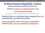 at risk student eligibility criteria includes each student under the age of 26 who9