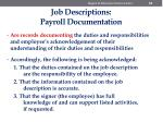 job descriptions payroll documentation