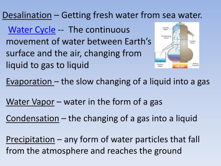 desalination getting fresh water from sea water n.