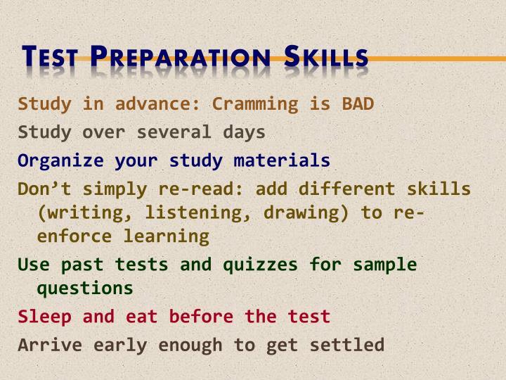 Test Preparation Skills