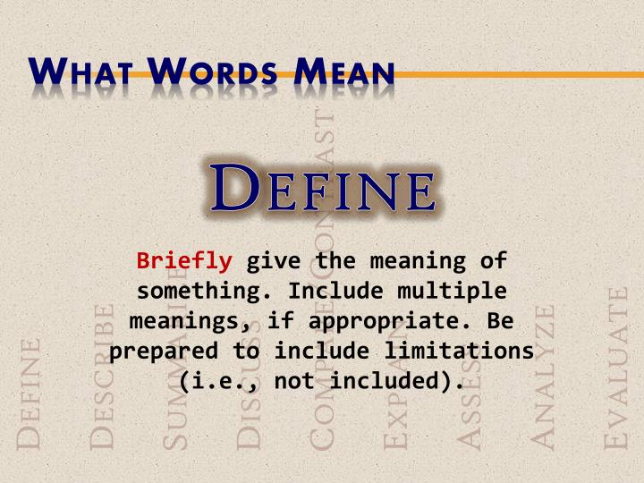 What Words Mean