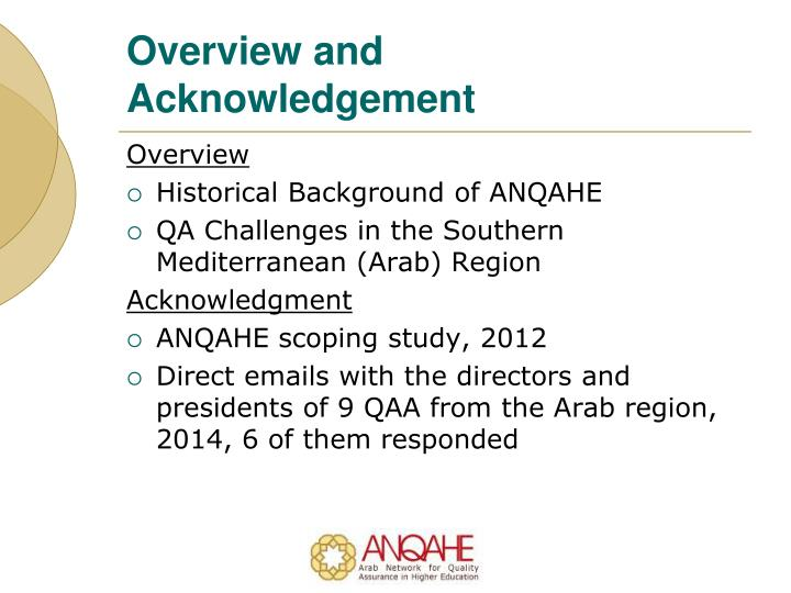 Overview and acknowledgement