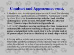 conduct and appearance cont