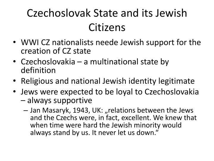 Czechoslovak State and its Jewish Citizens