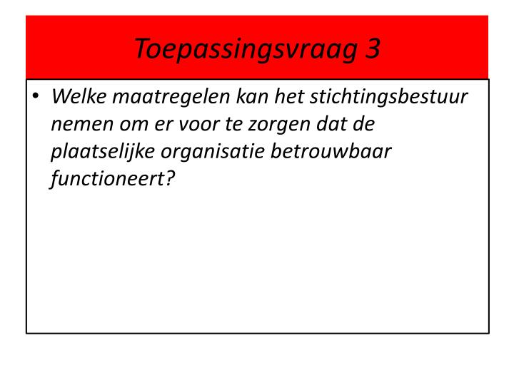 Toepassingsvraag 3