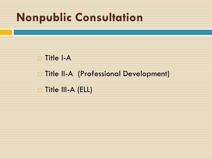 Nonpublic Consultation