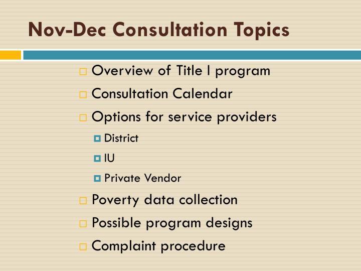 Nov-Dec Consultation Topics