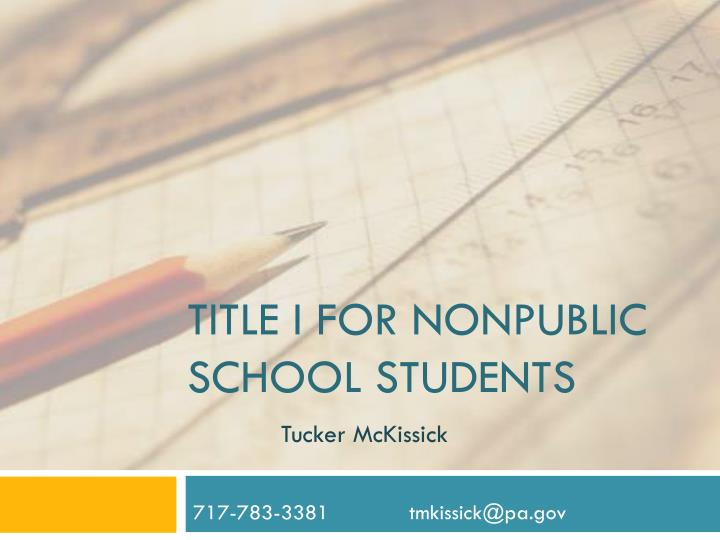 Title i for nonpublic school students