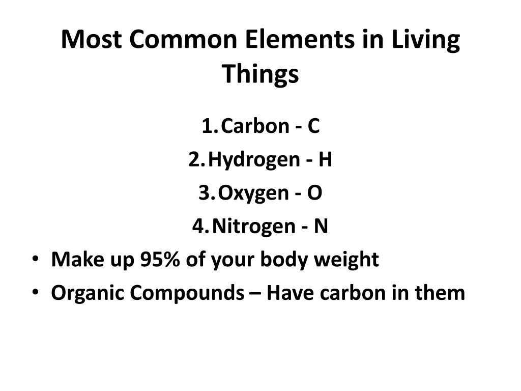 Most Common Elements In Living Things Powerpoint Ppt Presentation