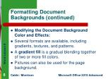 formatting document backgrounds continued