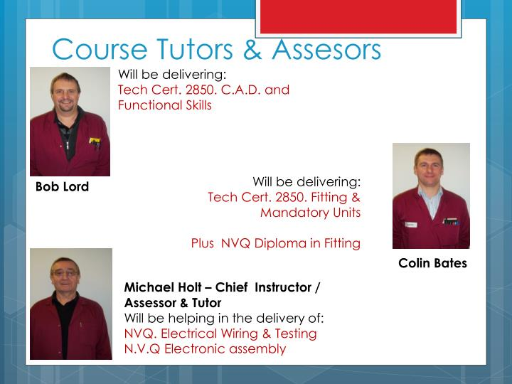 Course Tutors &