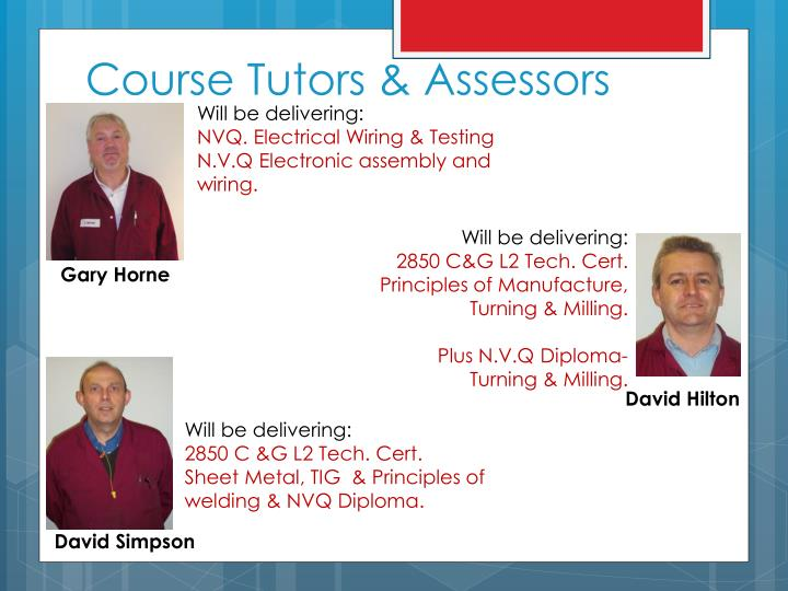 Course Tutors & Assessors