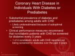 coronary heart disease in individuals with diabetes or prediabetes