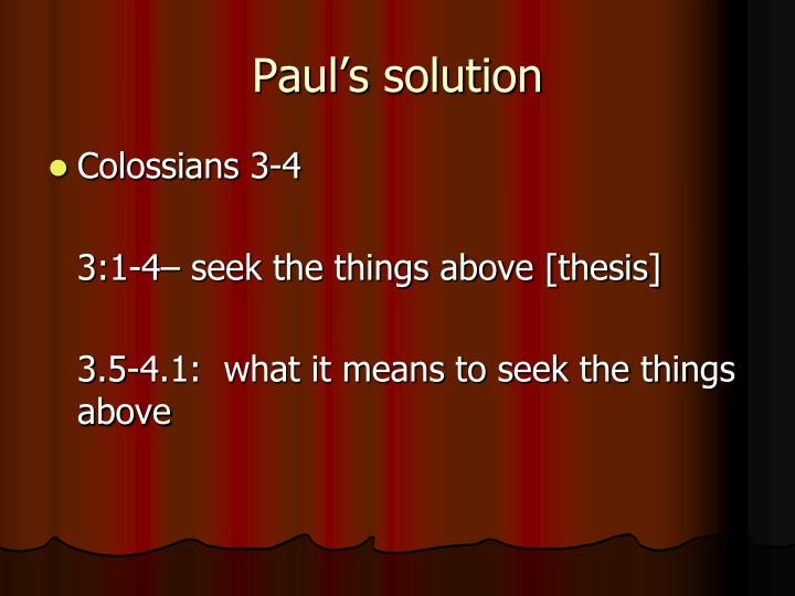Paul's solution