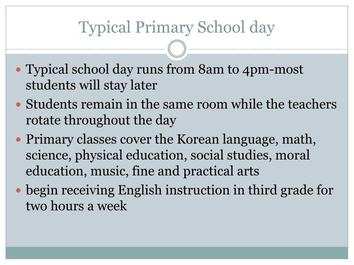 Typical Primary School day
