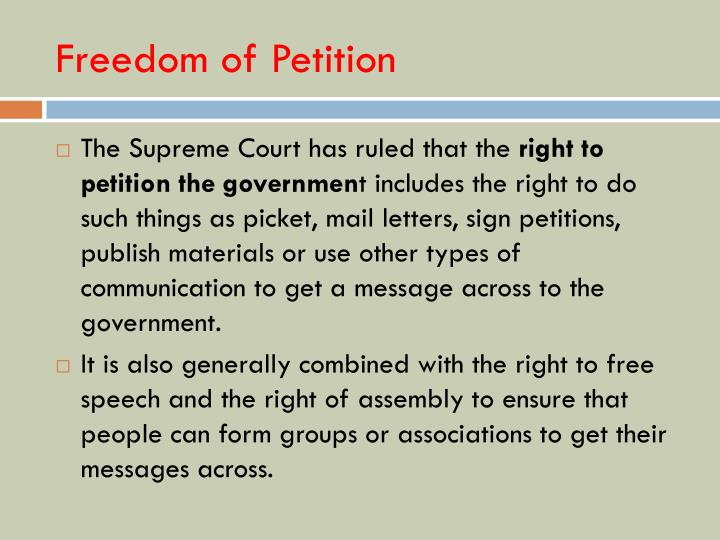 Freedom of Petition