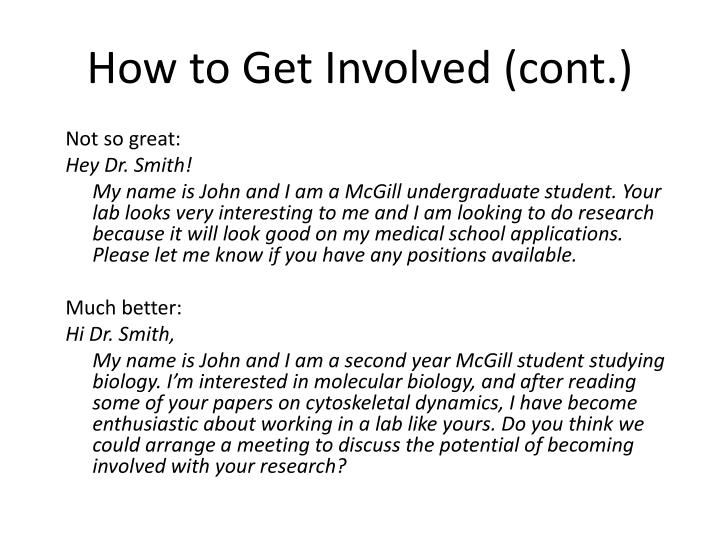 How to Get Involved (cont.)