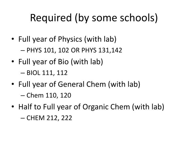 Required (by some schools)