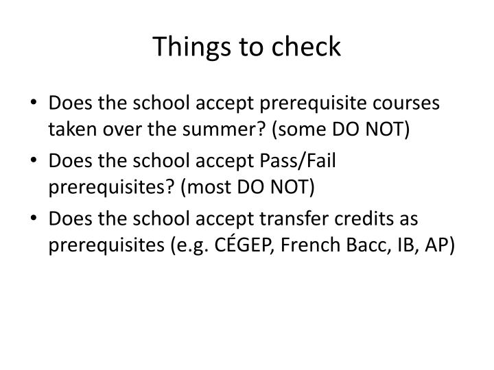 Things to check