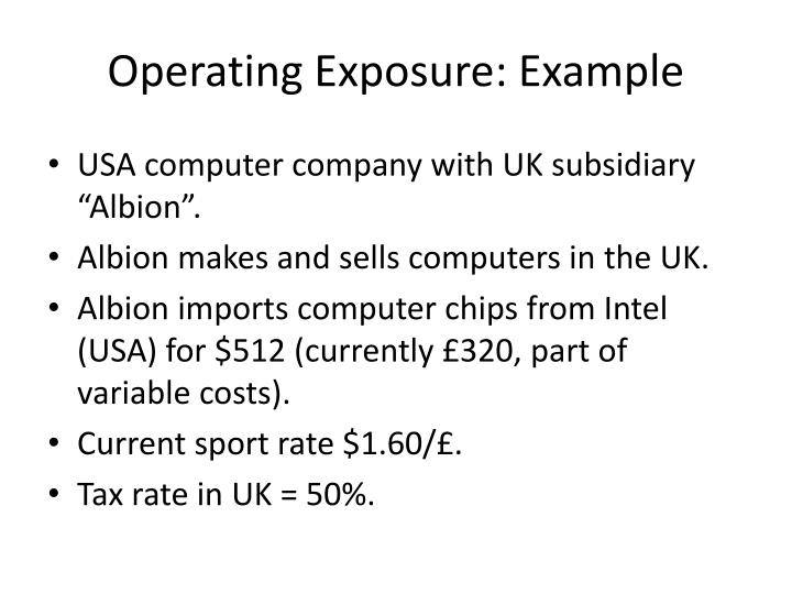 Operating Exposure: Example