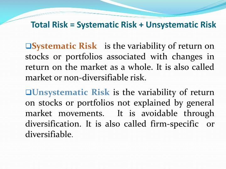 Total risk systematic risk unsystematic risk