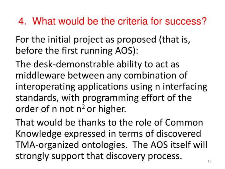 4.  What would be the criteria for success?