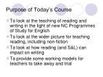 purpose of today s course