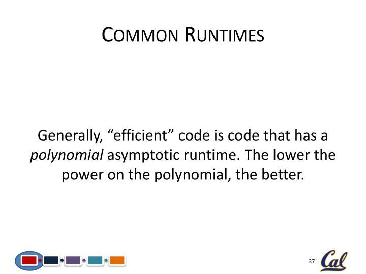 Common Runtimes