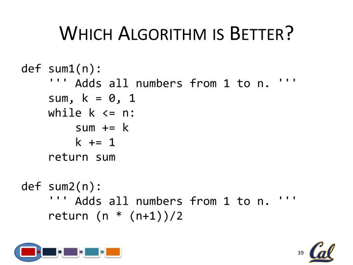 Which Algorithm is Better?