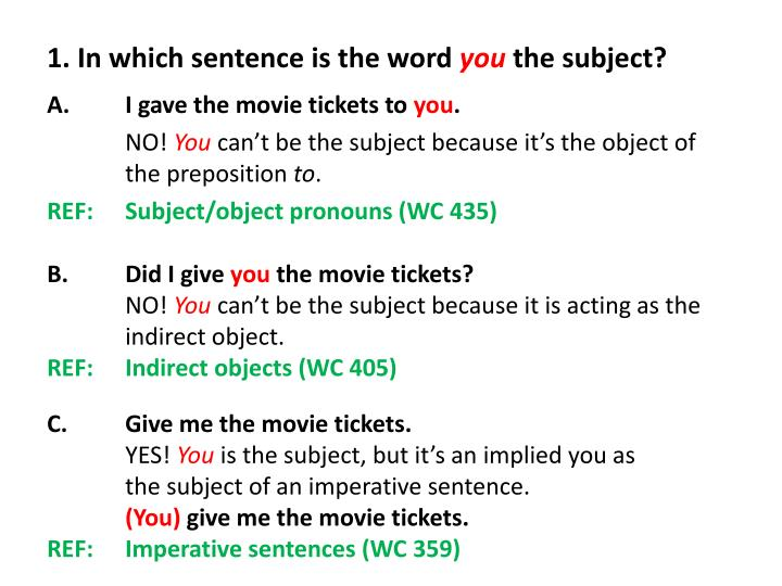 1 in which sentence is the word you the subject n.