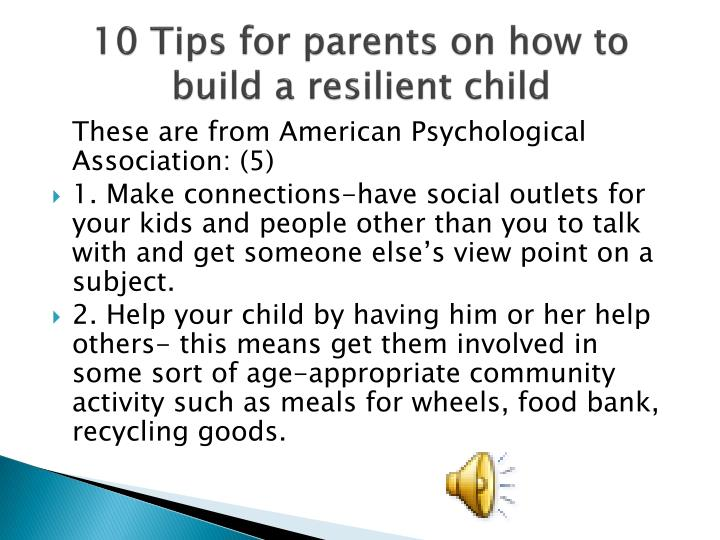 10 Tips for parents on how to build a resilient child