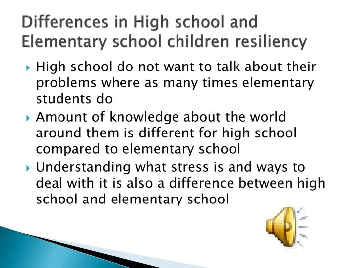 Differences in High school and Elementary school children resiliency