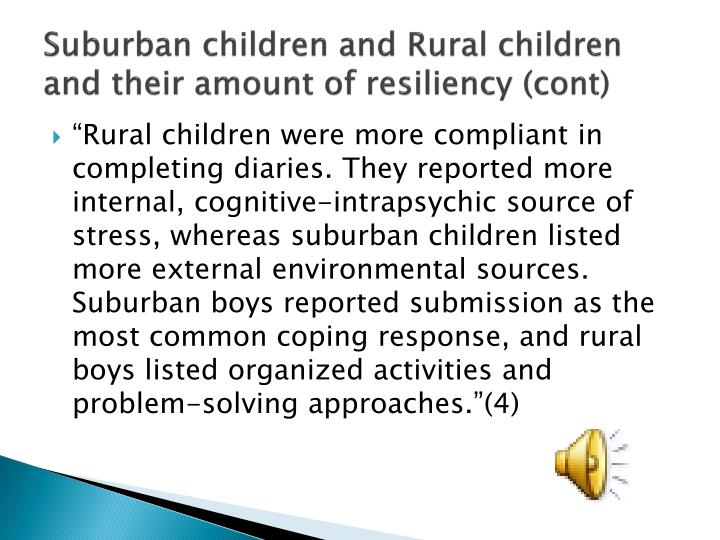 Suburban children and Rural children and their amount of resiliency (cont)