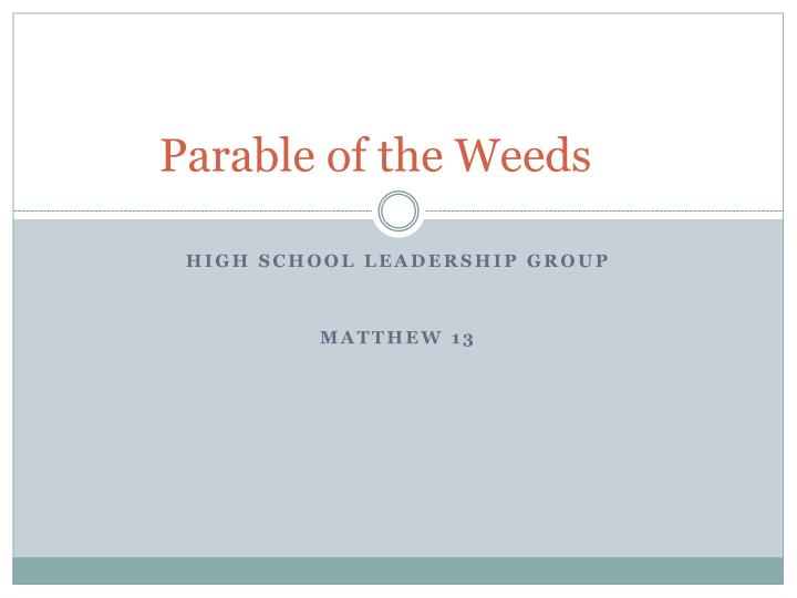 parable of the weeds n.