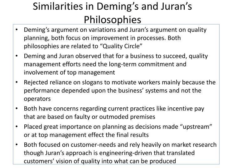 Similarities in Deming's and Juran's Philosophies