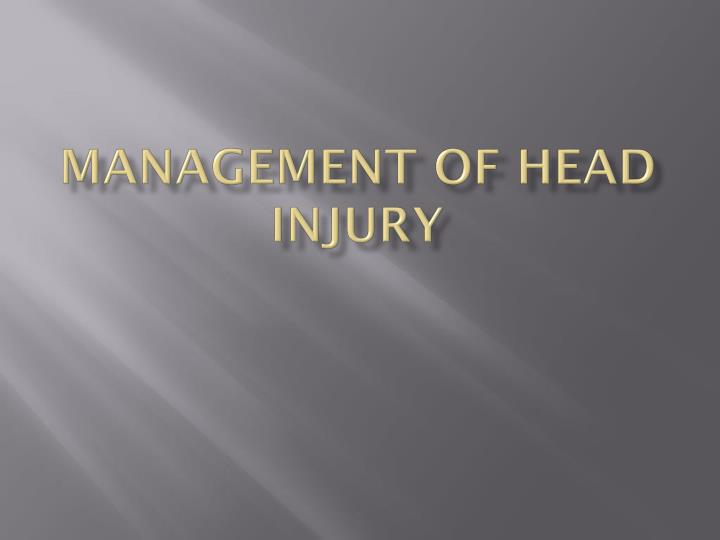 management of head injury n.