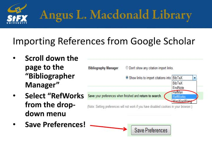 Importing References from Google