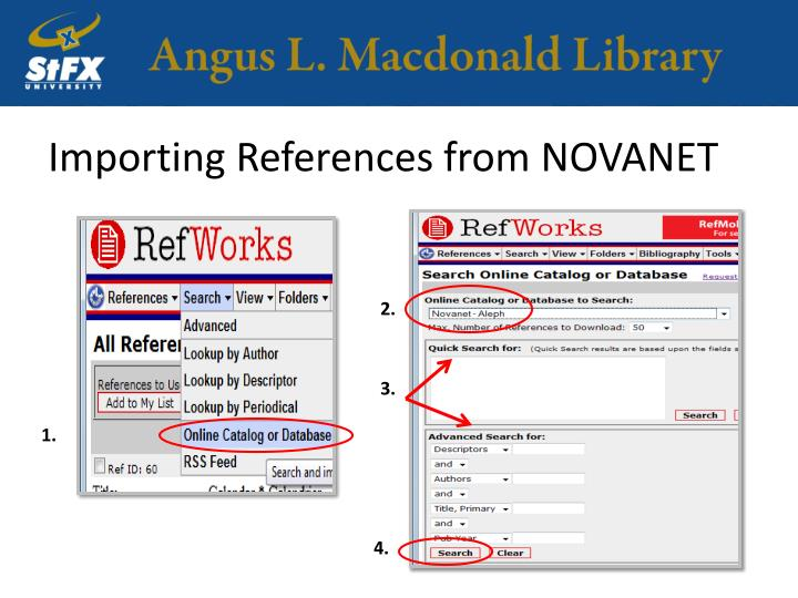 Importing References from NOVANET