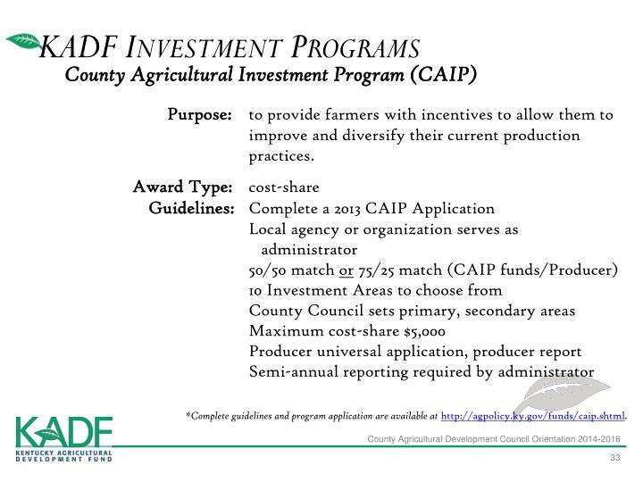 KADF Investment Programs