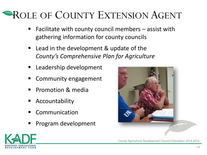 Role of County Extension Agent