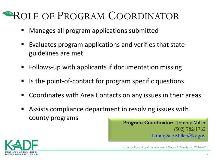 Role of Program Coordinator