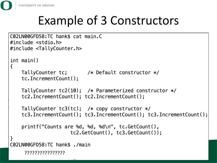 Example of 3 Constructors