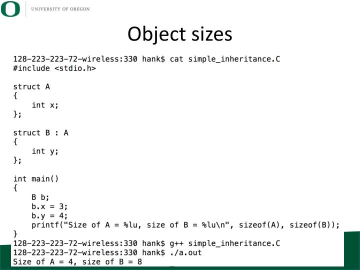 Object sizes
