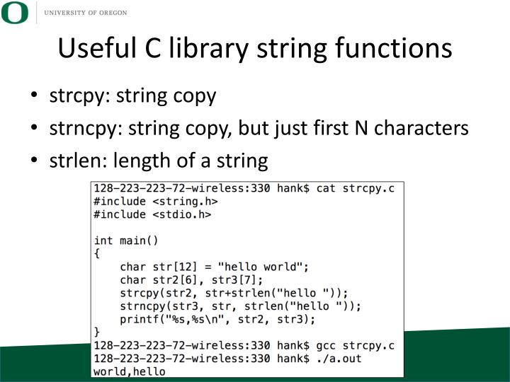 Useful C library string functions