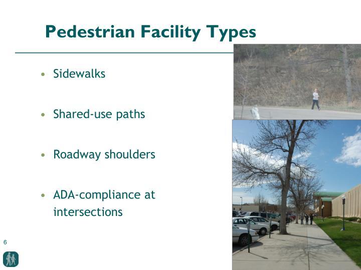 Pedestrian Facility Types