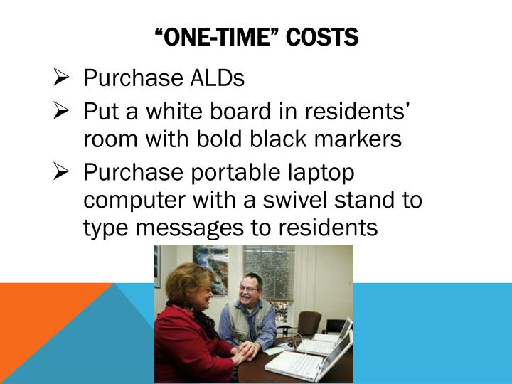 """""""one-time"""" Costs"""