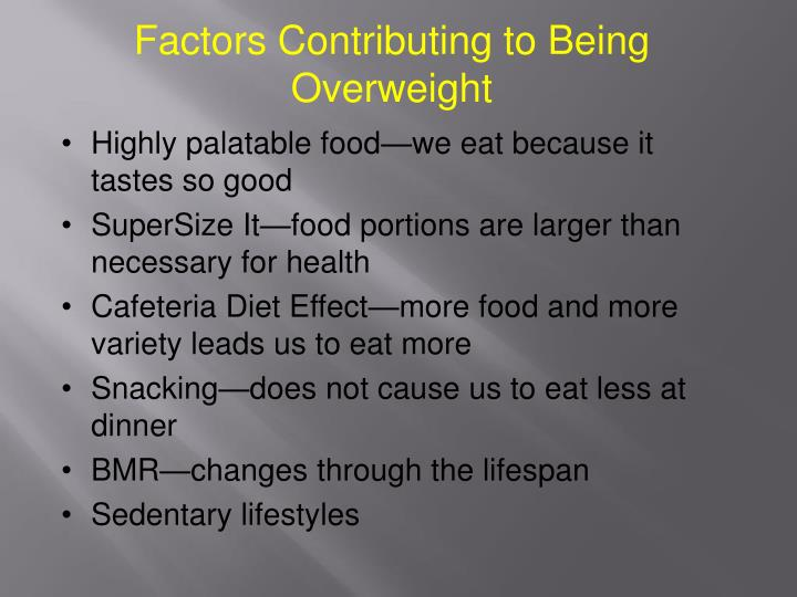 Factors Contributing to Being Overweight