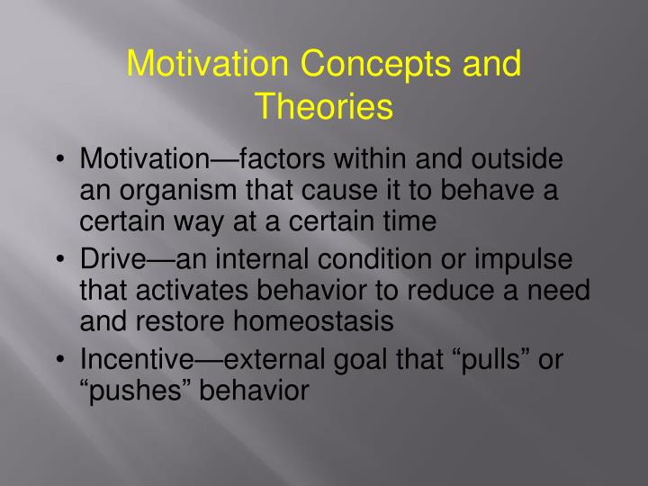 Motivation Concepts and Theories